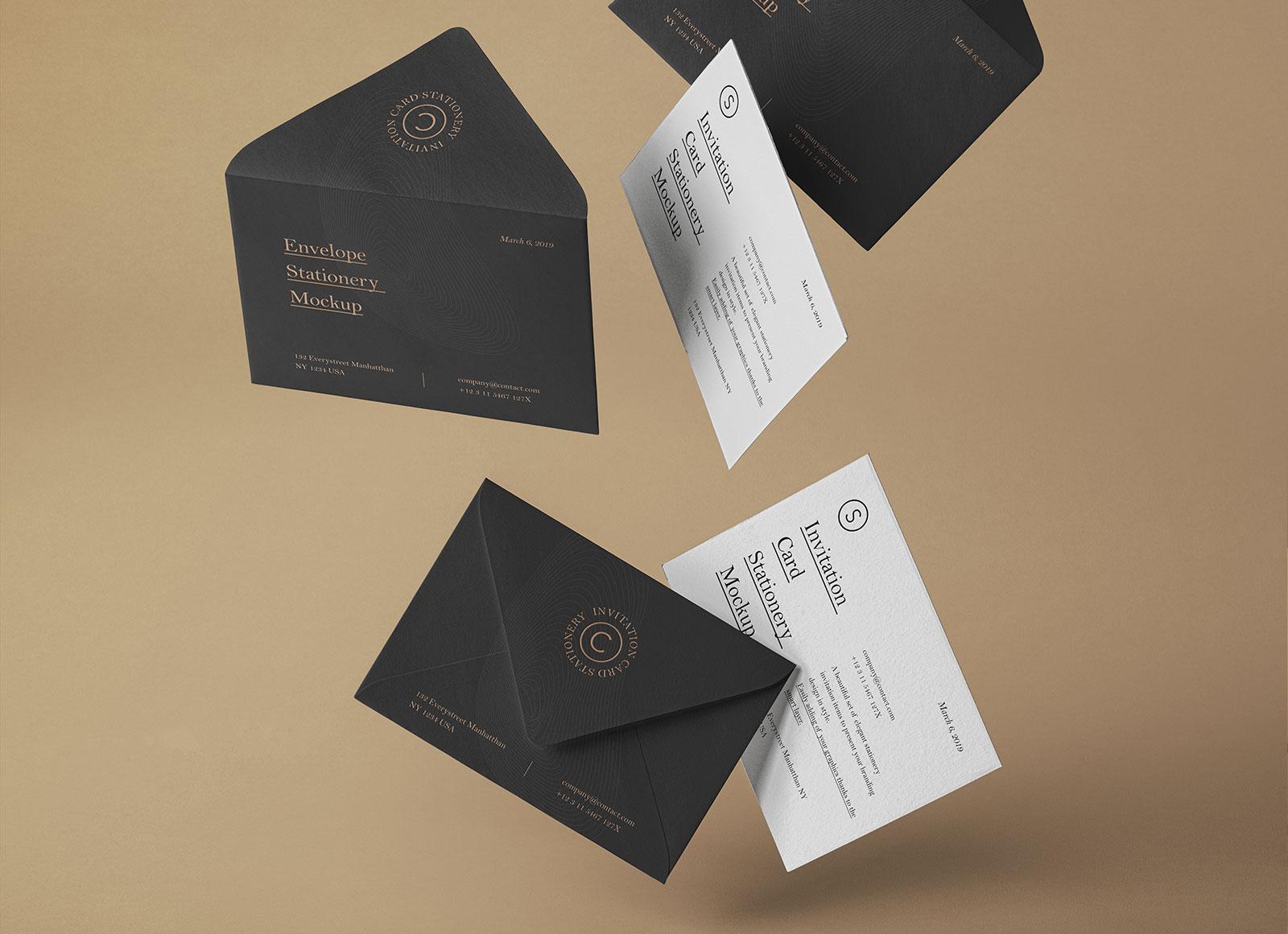 wedding invitation card mockup psd