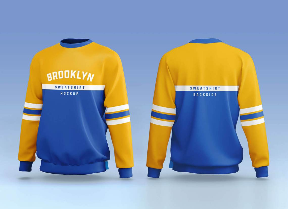 Download Free Sporty Crew Neck Full Sleeves Sweatshirt Mockup PSD ...