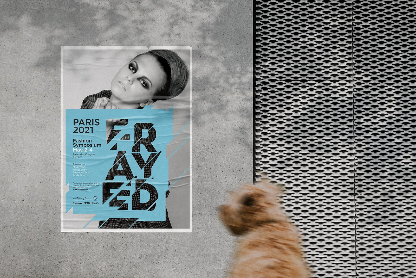 Insert poster design on smart object and get a cool pasted wrinkled effect. Free Street Wall Glued Poster Mockup Psd Good Mockups