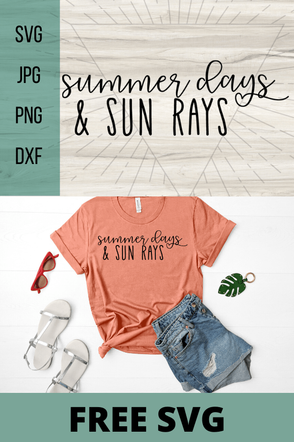 Free Summer days and sun rays SVG. Summer life is the best life, decorate anything with this free pool svg. Perfect Summer DIY project for your Cricut. #cricut #freesvg #svg #diy #summervibes