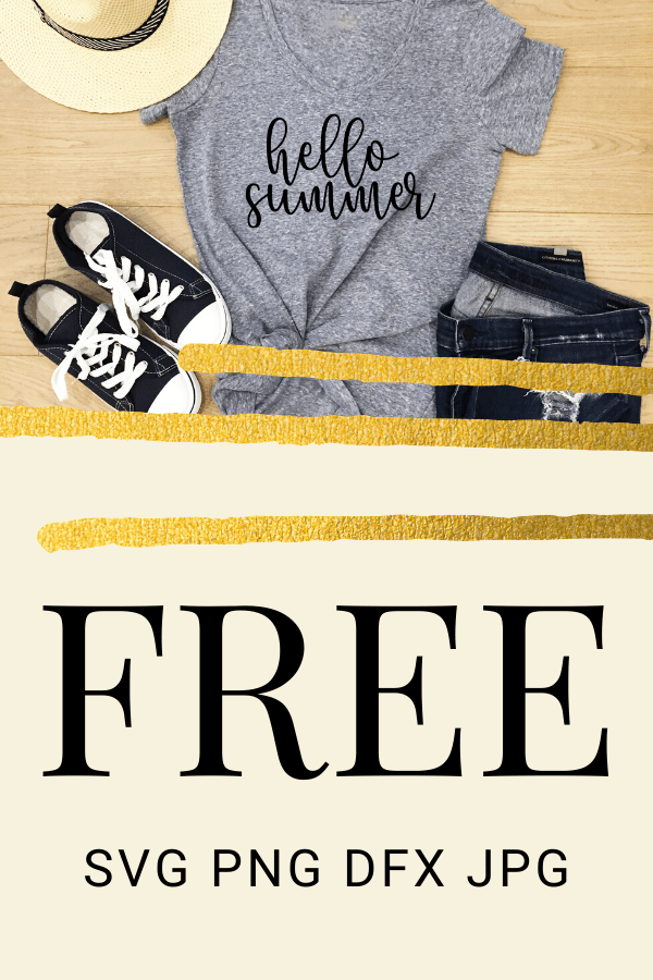 Free Hello Summer SVG marks the beginning of summer. With this adorable SVG you can make the perfect Cricut DIY project! Great for shirts with sayings or canvas bags.