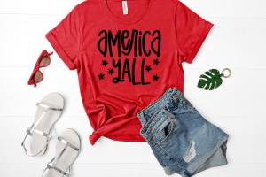 Free America y'all SVG will make for the perfect DIY patriotic Tee. Make a 4th of July shirt with this simple SVG. Cricut SVG files make for super easy beginner projects. #cricut #silhouette #freesvg #svg #diy #project
