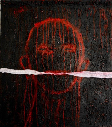 Yhanna Coffin, Gagged, mixed media on canvas
