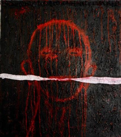 Yhanna Coffin, Gagged, mixed media on canvas