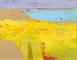 Ruth Mordecai, Yellow Field, acrylic, oil & collage