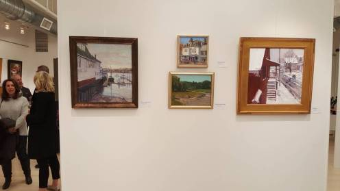 Charles Fine Arts, Cape Ann Plein Air, Opening Reception Feb 2017, featured four recent LaPierre Pieces including: Beacon Marine: SOLD • Central St Gallery, $600 • The Rudder in Snow: $2,800
