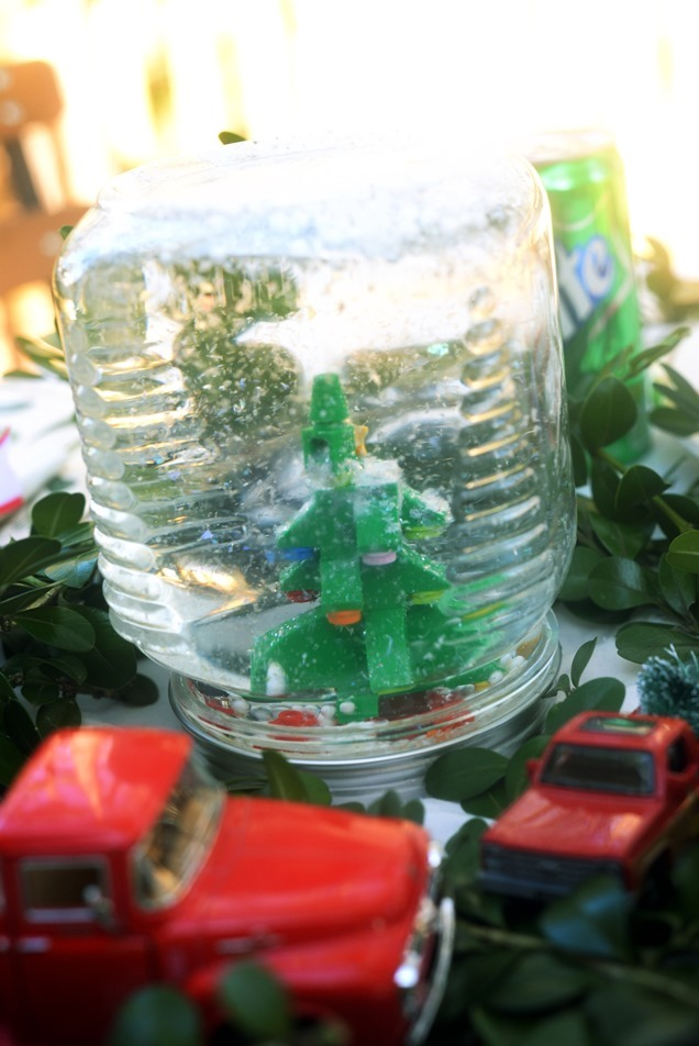 Lego Snowglobe for kids diy craft christmas tree