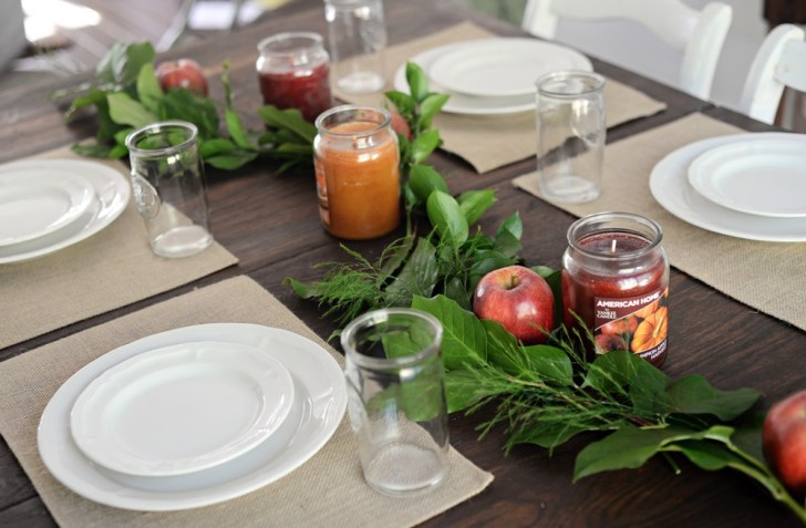 fall tablescape candles placemats decor decorating apples