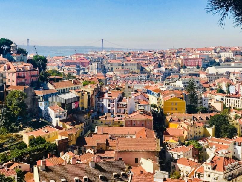 vue pont 25 avril lisbonne au miradouro da senhora do monte