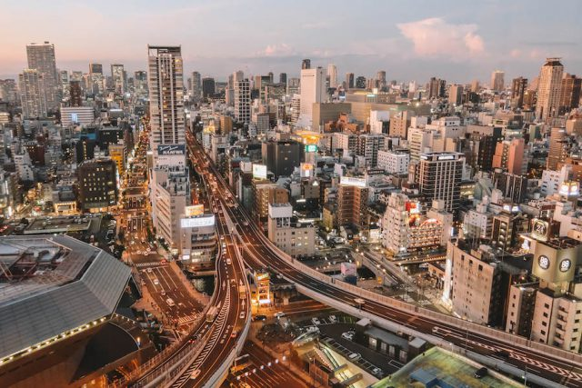 Osaka bezienswaardigheden zonsondergang