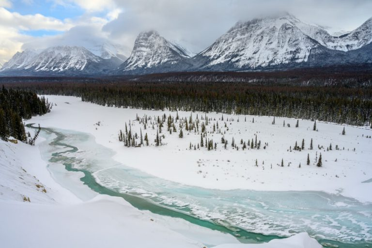 Jasper Nationaal Park Winter Athabasca-rivier