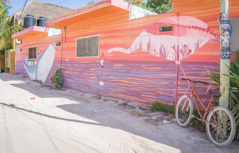 Downtown Holbox Street Art Flamingo