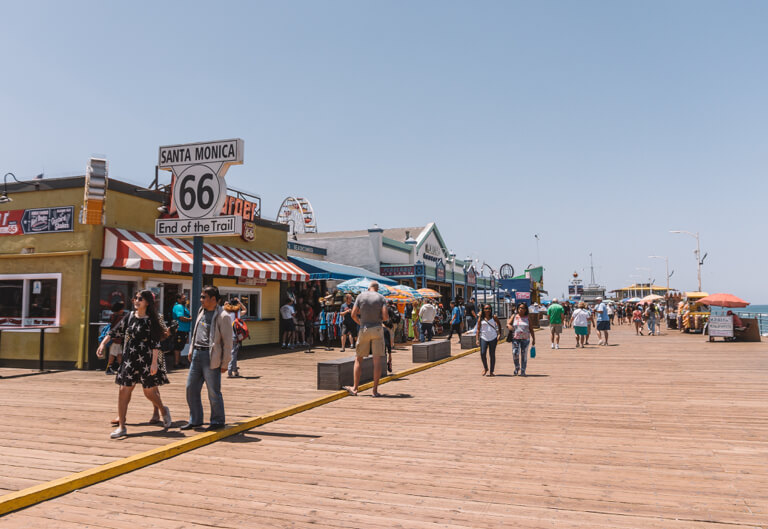 Attracties in Los Angeles Santa Monica Pier einde van Route 66
