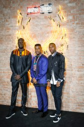 """LONDON, ENGLAND - FEBRUARY 08: Stormzy, John Boyega and Daniel Sturridge attend the European Premiere of Marvel Studios' """"Black Panther"""" at the Eventim Apollo, Hammersmith on February 8, 2018 in London, England. (Photo by Gareth Cattermole/Getty Images for Disney) *** Local Caption *** Stormzy; John Boyega; Daniel Sturridge"""