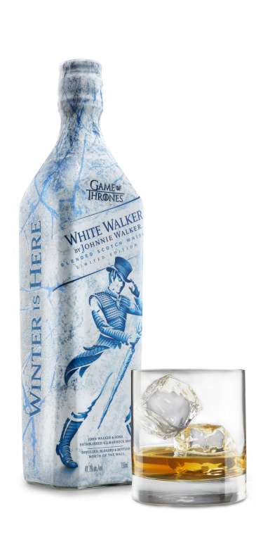 White Walker Angled Bottle Frozen Temperature with glass