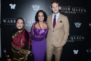 "NEW YORK, NY - NOVEMBER 13: Swati Bhise, Devika Bhise and Ben Lamb attend The Wing Hosts The World Premiere Of Roadside Attractions' ""The Warrior Queen Of Jhansi"" at Metrograph on November 13, 2019 in New York. (Photo by Paul Bruinooge/PMC/PMC) *** Local Caption *** Swati Bhise;Devika Bhise;Ben Lamb"