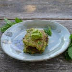 zucchini fritters with an avocado raytha