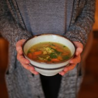 vegetable barley ginger soup with lemon thyme