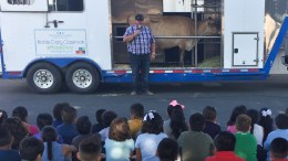 Ruby Drive Elementary students learn from a dairy farmer and observe a real cow.
