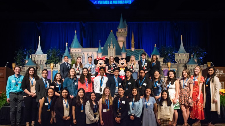 Disneyland Resort Dreamers & Doers Shining Stars for the 2017-18 school year. Yorba Linda High School recipient, Gabriella Moussa, is pictured in the second row, second from the left.