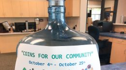 Coins for Our Community jar at Valadez Middle School.