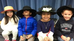 Bryant Ranch students in hats.