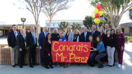 District administrators and Esperanza Aztecs gather to help celebrate teacher Frank Perez as he is identified as a PYLUSD Employee of the Year on Friday, February 8, 2019.