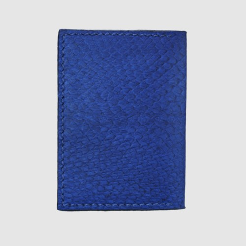 Blue salmon bifold fishleather card wallet straight