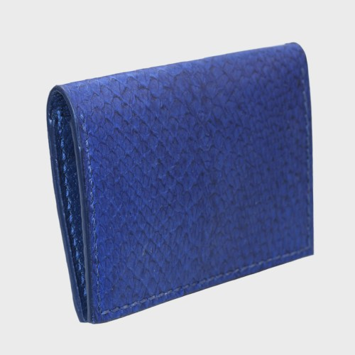 Blue salmon bifold fishleather card wallet