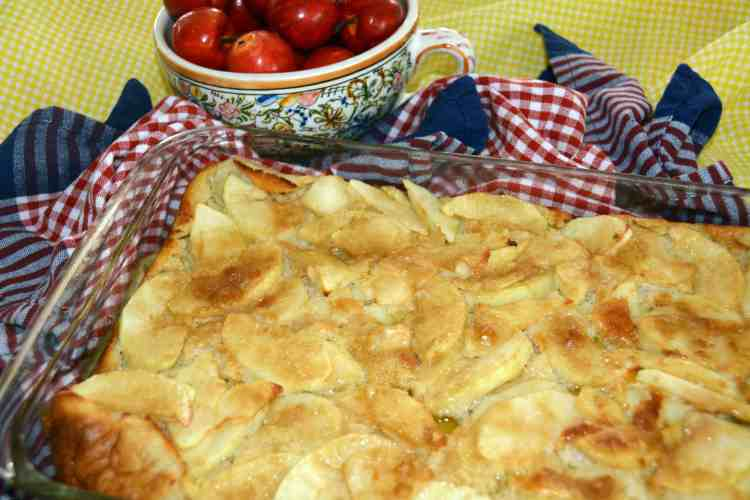 health benefits of eggs; an apple puff pancake full of eggs