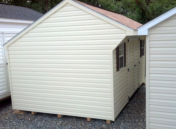10×16 Vinyl Carriage (mo# 232) Cream Siding And Trim With Desert Tan  Shingles And Brown Shutters. Has 10u2032 Workbench, 10u2032 Ridge Vent, Upgraded To  A 6u2032 Double ...