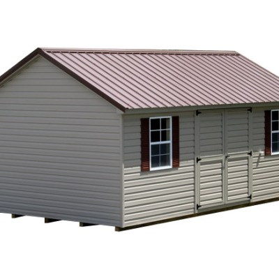 A vinyl shed with a metal, classic style roof. The shed has a 6 foot set of solid, vinyl, GGS doors, and two windows with shutters