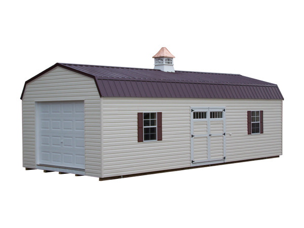 A Long Vinyl Shed With A Metal, High Barn Style Roof. The Shed Has