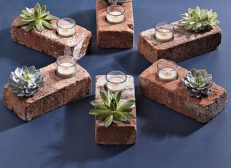 Tea lights and bricks = best trick at the party.