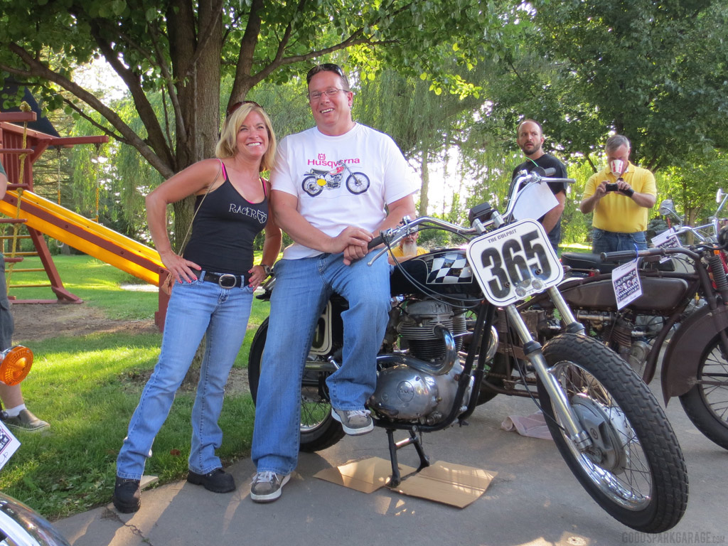 Motorcycle Couple, Sid And Dana, Rode In On Their Vintage Bikes, A Triumph  Street Tracker And An RD350.