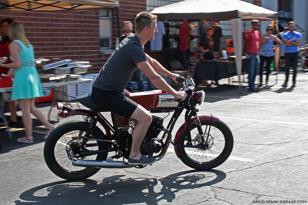 Devin on the Janus Motorcycles Phoenix