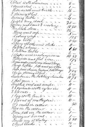 sample inventory from 1807