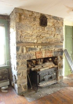 Fireplace in the Asa Romine house