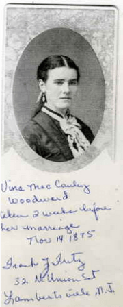 Vina McCauley just before her marriage. From Mary A. Burrows on Ancestry.com