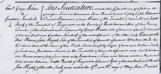 Detail of deed from estate of George Wilson to Gershom Lambert