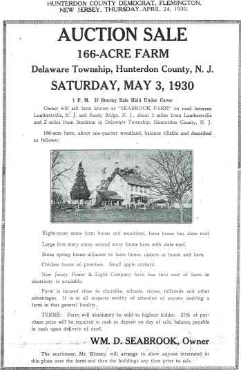 Sale Notice for the Seabrook Farm, 1930