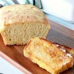 no-knead english muffin bread with slice