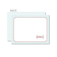 lattice thank you card monogram