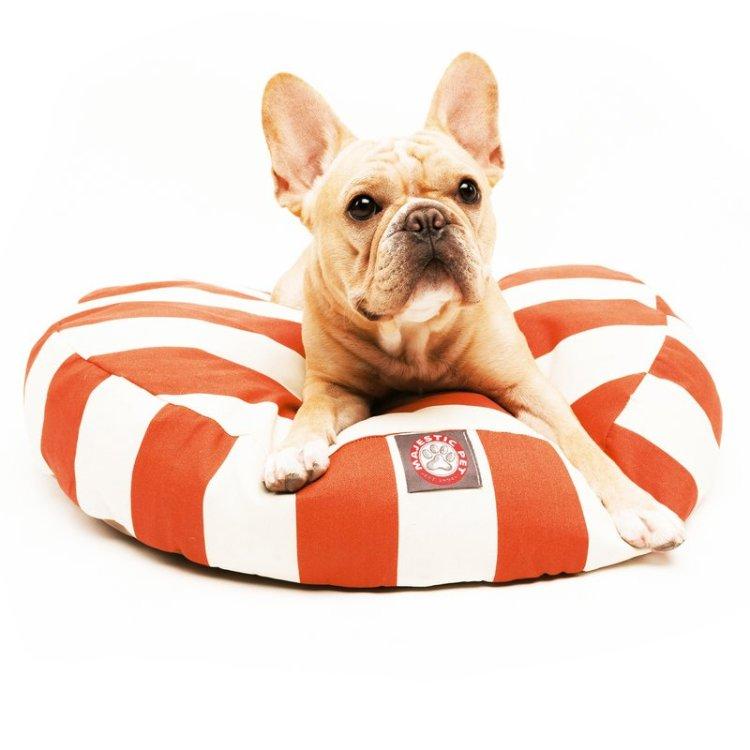 round striped dog bed