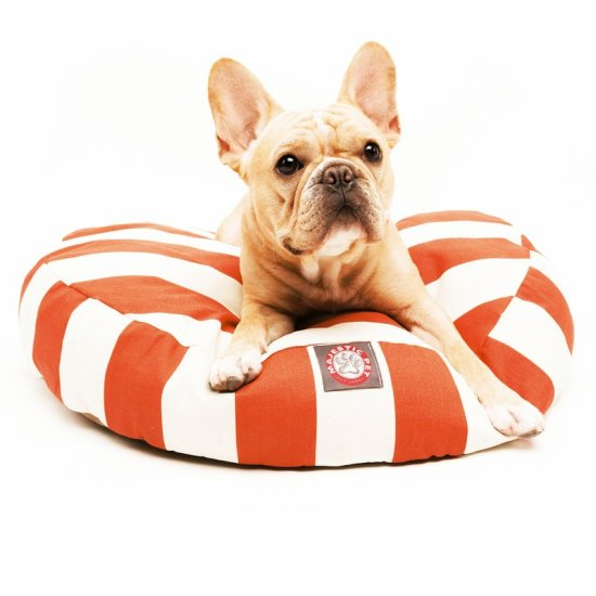 round striped dog bed