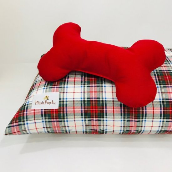 red plaid christmas dog bed