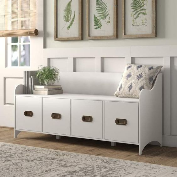 Joss and Main White Storage Bench with Drawers
