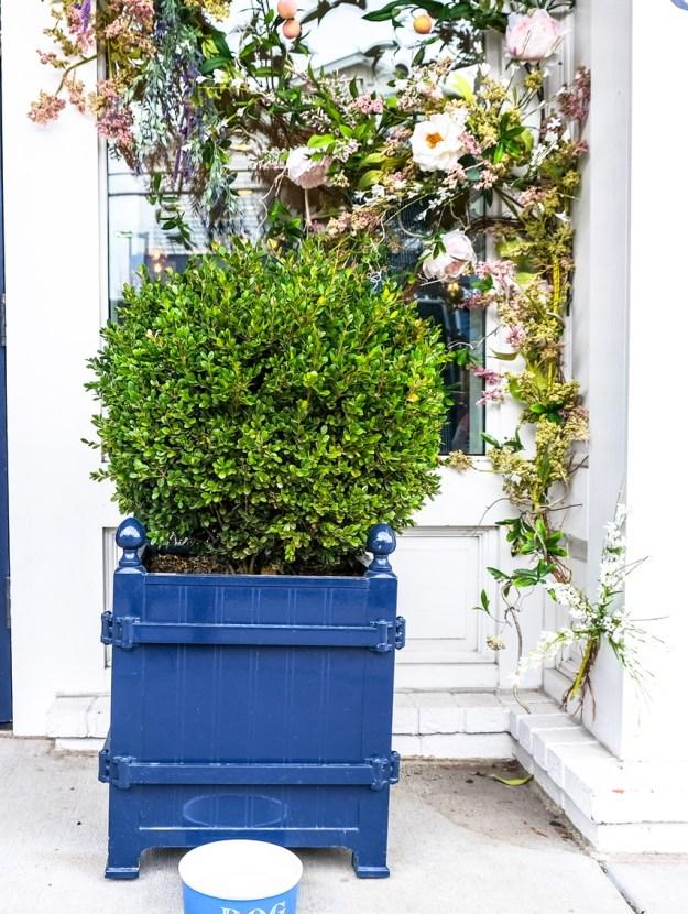 Blue wooden square planter