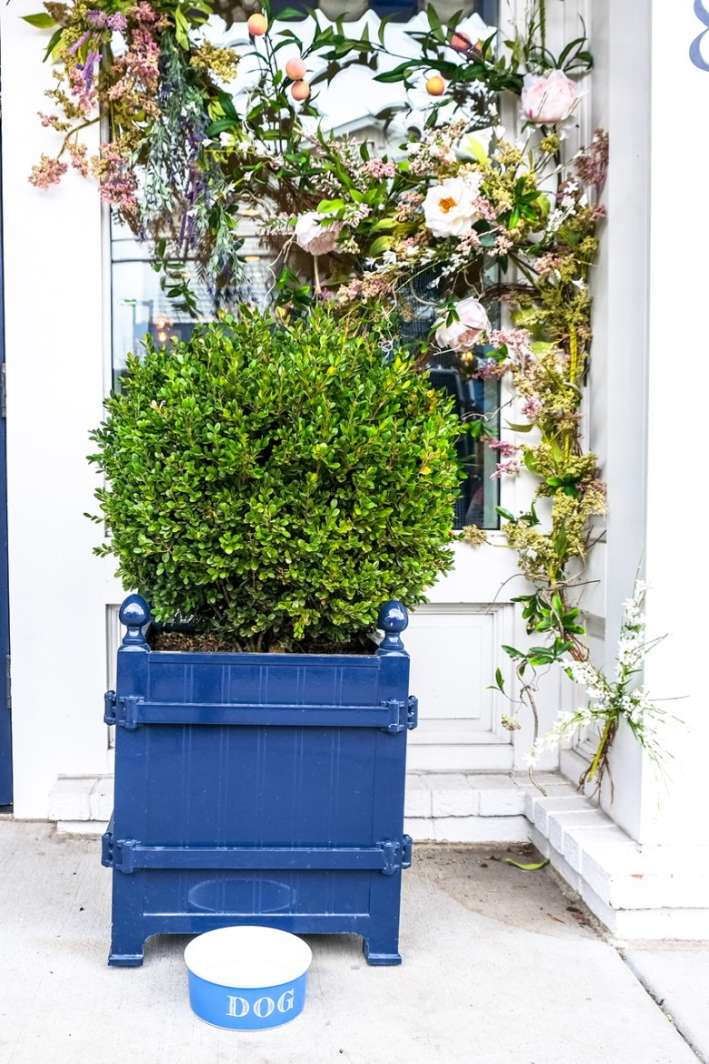 Blue wooden square planter