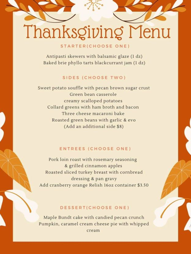 MF Scratch Thanksgiving Menu